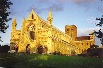 Exterior view of St Albans Cathedral
