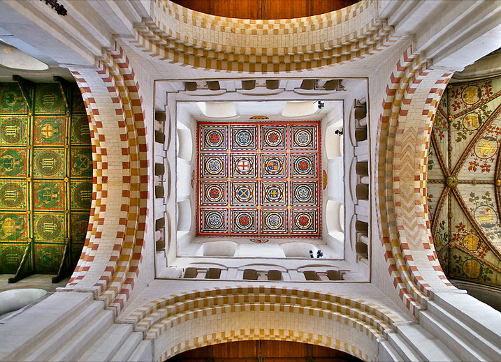 Photograph of the detail of the ceiling, St Albans Cathedral
