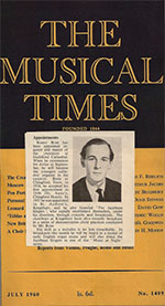 Thumbnail image of Musical Times announcement